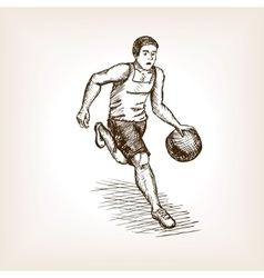 Basketball player sketch style vector image
