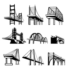 Bridges in perspective icons set vector