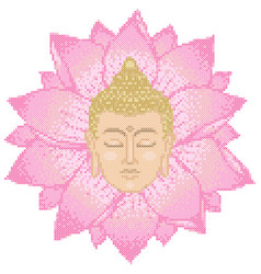 Buddha head and lotus cross stitch vector