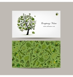 Business card design tropical tree vector
