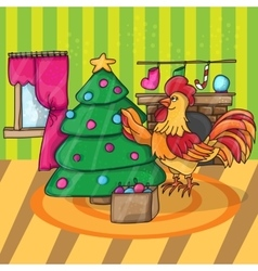Cartoon cock with tree Rooster vector image
