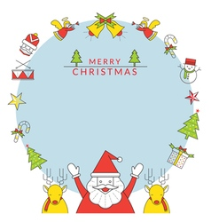 Christmas frame santa claus and reindeer line icon vector