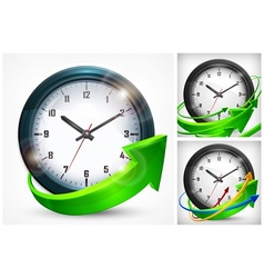 Clock with arrows on white vector
