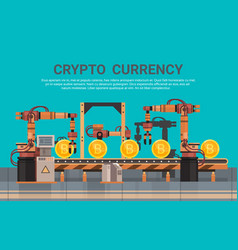 Crypto currency production bitcon mining conveyor vector