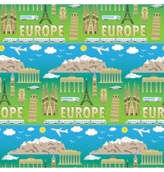 Europe travel coloured seamless pattern vector