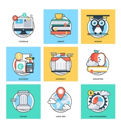 Flat color line design concepts icons 26 vector