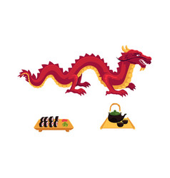 flat dragon sushi and tea ceremony set vector image vector image