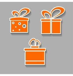 gift icons colorful design concept with shadow vector image vector image
