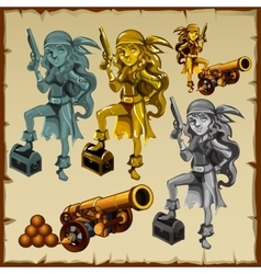 Gold and silver statues of women pirates with guns vector image vector image
