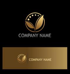 Golden leaf organic beauty logo vector