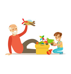 grandfather playing toys with boy part of vector image