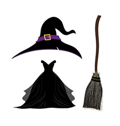 Halloween Set Witch Hat Black Dress Broom vector image