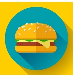 hamburger icon with long shadow Flat design style vector image vector image