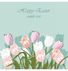 Happy Easter card with tulips vector image vector image