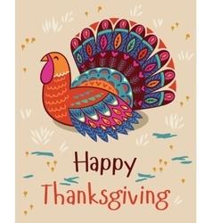 Happy thanksgiving turkey card vector