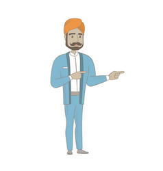 Hindu businessman pointing to the side vector