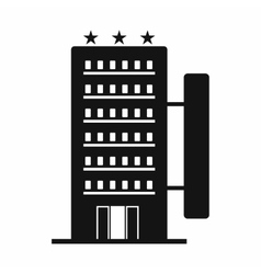 Hotel building black simple icon vector