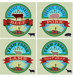 Icons on vintage background pig cow sheep goat vector