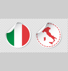 Italy sticker with flag and map label round tag vector