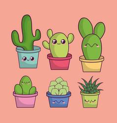 Kawaii cactus in a pot design vector
