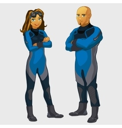 Man and woman divers two character isolated vector