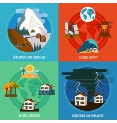 Natural disaster 4 flat icons set vector