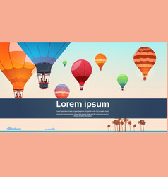 People travel on colorful air balloons flying in vector
