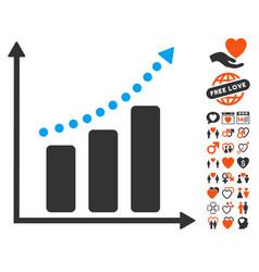 positive trend icon with love bonus vector image