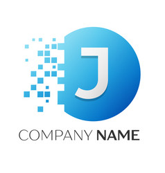 realistic letter j logo in colorful circle vector image vector image