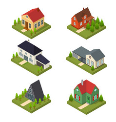 residential building set isometric view vector image vector image