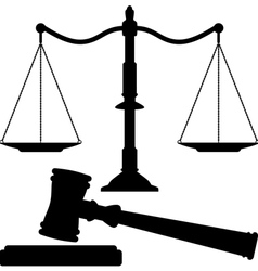 Scales of justice and gavel vector