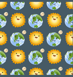 Seamless pattern sun yellow planets weather vector