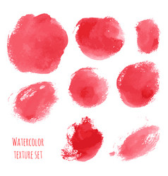 Set of red pink watercolor hand painted texture vector