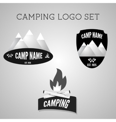 Set of silver outdoor adventure badges and vector image vector image