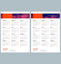 Set of two calendar posters 2018 and 2019 years vector