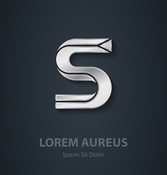 Silver Letter S elegant font Template for company vector image vector image