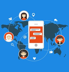 Social media and network concept in flat design vector image