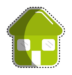 Sticker green house with door roof and windows vector