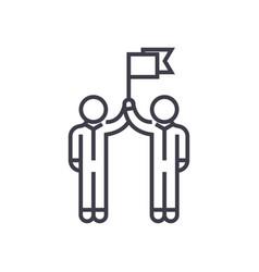 teamwork mission goal flag line icon vector image