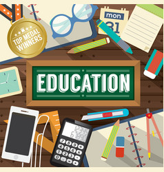 Top view students works education concept vector