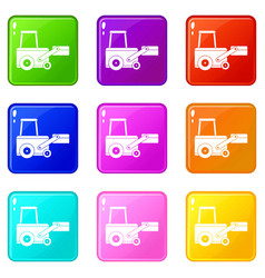 Truck to lift cargo set 9 vector