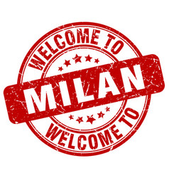 Welcome to milan red round vintage stamp vector