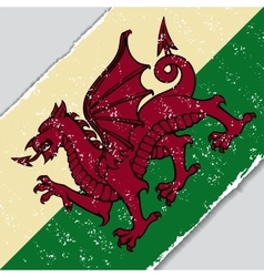 Welsh grunge flag vector