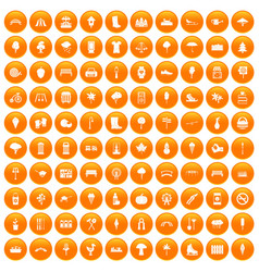 100 park icons set orange vector