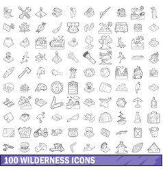 100 wilderness icons set outline style vector
