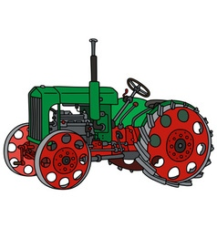 Vintage green tractor vector image