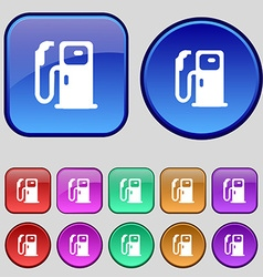 Fuel icon sign A set of twelve vintage buttons for vector image