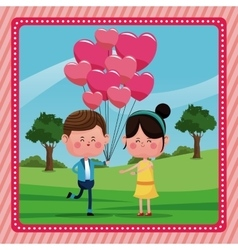 Boy with branch balloons girl smiling rural vector