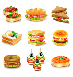 Sandwiches icons set vector