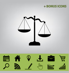 Scales of justice sign  black icon at gray vector